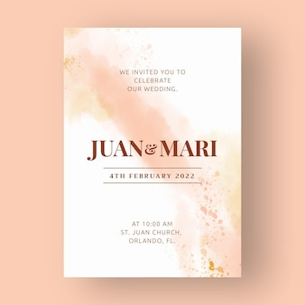 抽象的な水彩結婚式の招待状のテンプレート