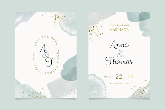 Abstract watercolor wedding invitation template