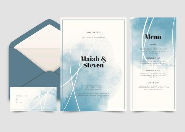 抽象的な水彩結婚式の文房具コレクション