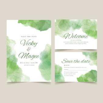 抽象的な水彩結婚式の文房具セット