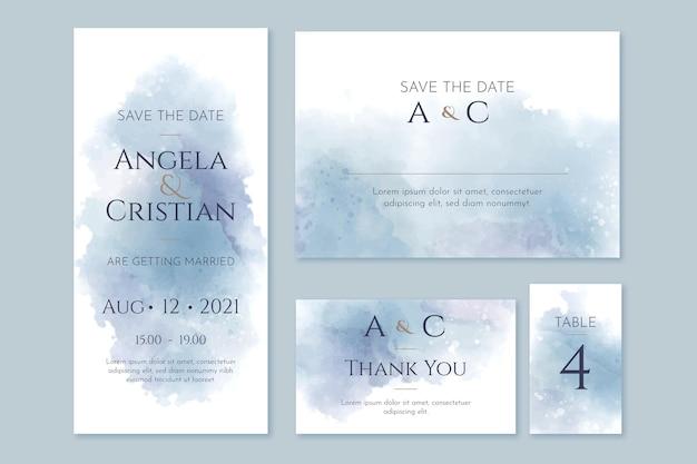 抽象的な水彩結婚式の文房具のテンプレート