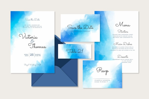 Abstract watercolor wedding stationery template