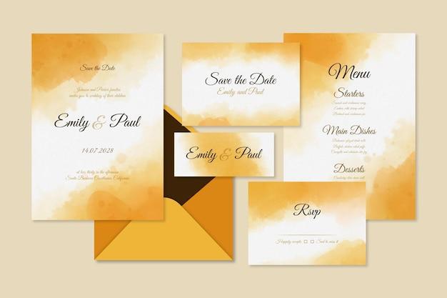 抽象的な水彩の結婚式の文房具