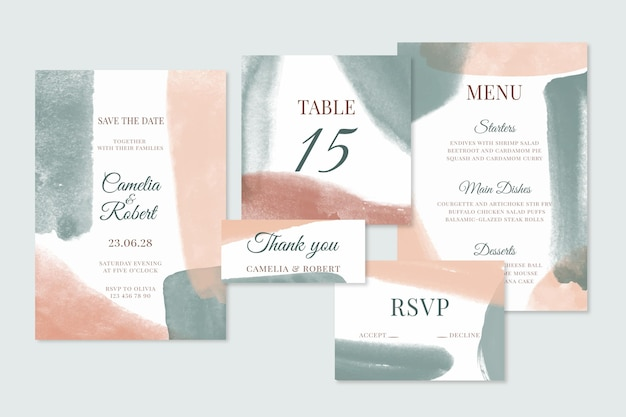 Abstract watercolor wedding stationery