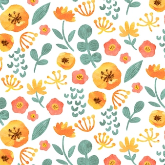 抽象的な水彩黄色の花のパターン
