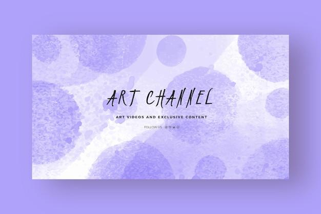 Modello di arte del canale youtube acquerello astratto