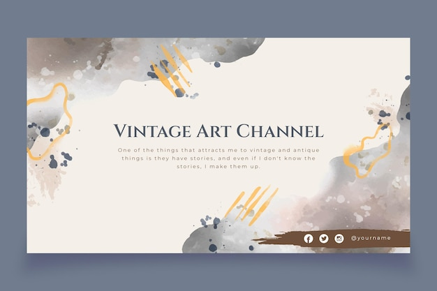 Abstract watercolor youtube channel art