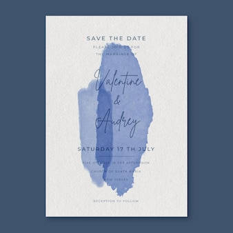 Abstract watercolour wedding invitation