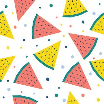 추상 수 박 완벽 한 패턴 배경입니다. 디자인 카드, 카페 메뉴, 벽지, 여름 선물 앨범, 스크랩북, 휴일 포장지, 가방 프린트, 티셔츠 등을 위한 유치한 수제 공예