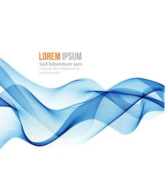 抽象的な波の背景。青い煙の波。青い波の背景、パンフレット、ウェブサイトの青い透明な波線。