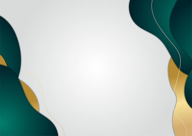 Abstract wave background in gold and green color. luxury and elegant background. abstract template design. design for presentation, banner, cover, business card