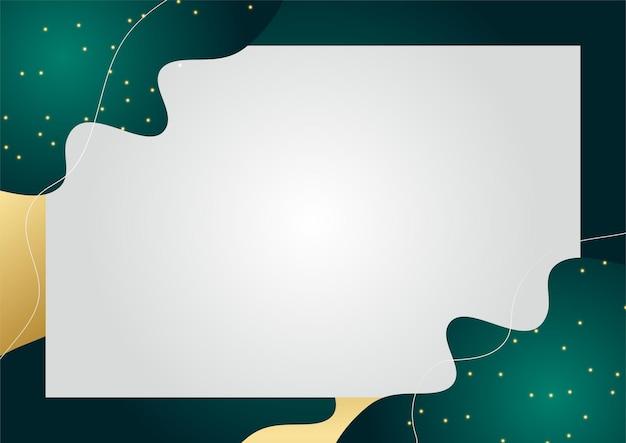 金と緑の色の抽象的な波の背景。豪華でエレガントな背景。抽象的なテンプレートデザイン。プレゼンテーション、バナー、表紙、名刺のデザイン