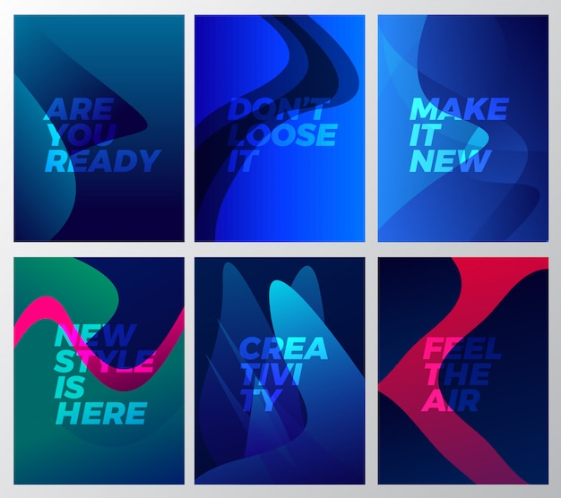 Abstract wave backgrounds templates set