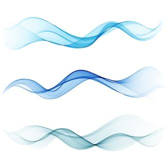 抽象的な波青い背景セット青い流れ波
