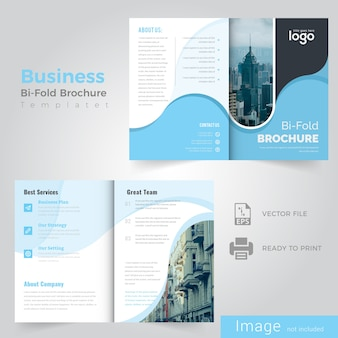 Abstract wave blue bifold brochure design
