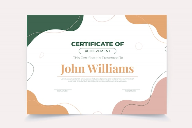 Abstract wave certificate template