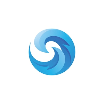 Abstract wave curl swirl logo isolated on white