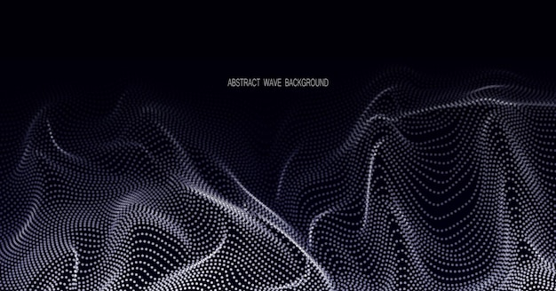 Абстрактная волна дизайн элемент массива светящихся точек форма волны плавающая