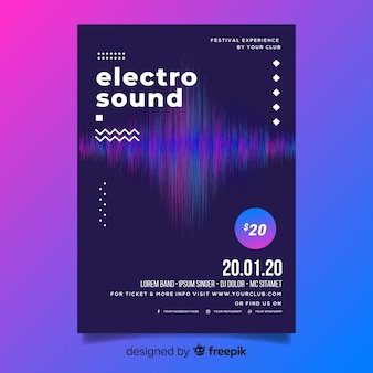 Abstract wave electronic music flyer template