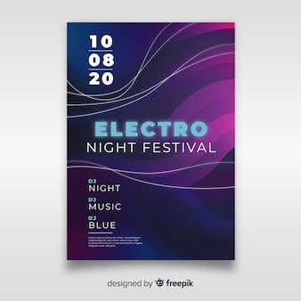 Abstract wave electronic music poster template