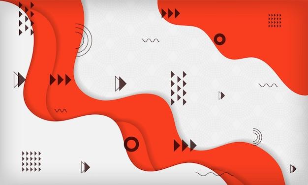 빨간색과 흰색 색상으로 추상 웨이브 기하학적 멤피스 배경 현대 최소한의 최신 유행 디자인
