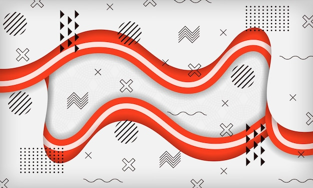 Abstract wave geometric memphis background with red and white color modern minimal trendy design