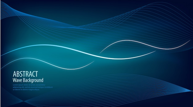 Abstract wave  glowing blue background