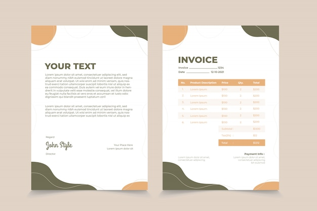 Abstract wave invoice template design