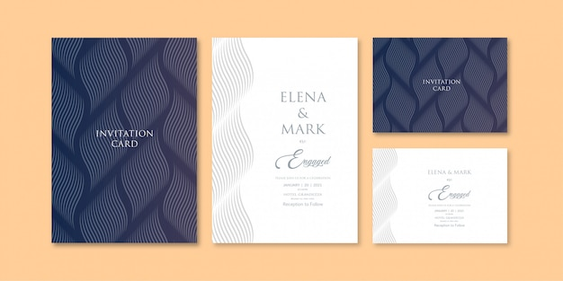 Abstract wave line art pattern dark blue shade theme invitation template
