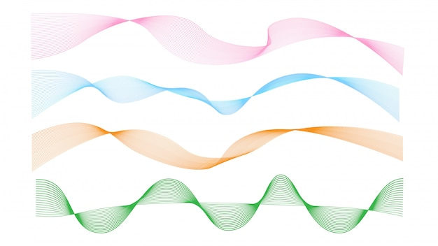 Abstract wave line vector collection with multi color isolated