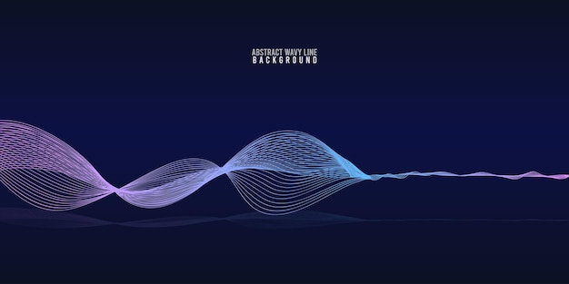 Abstract wave lines dynamic flowing colorful light isolated on blue gradient background. vector illustration design element in concept of music, party, technology, modern.
