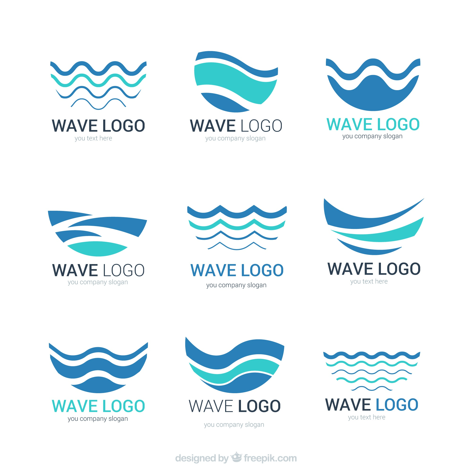 Abstract wave logos