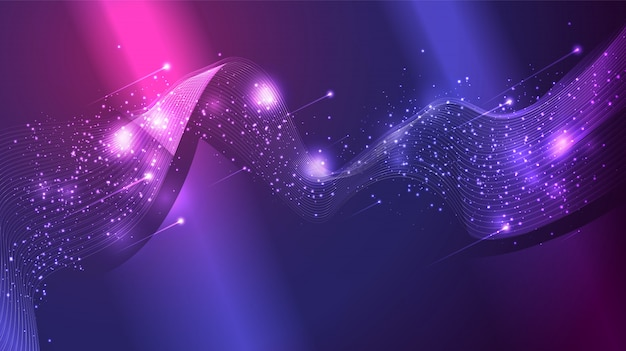 Abstract wave mesh, cluster of scattering glitter star, and comet
