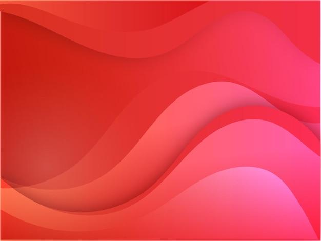 赤とピンク色の抽象的な波の動きの背景。
