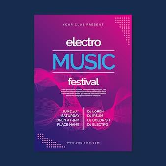 Шаблон плаката абстрактной волны музыки