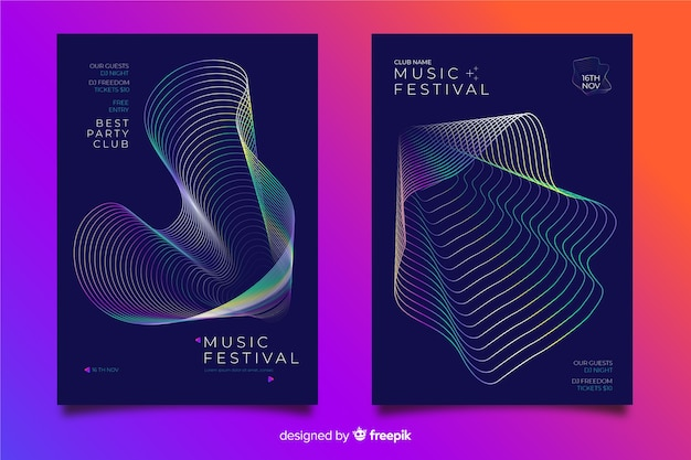 Abstract wave music poster template