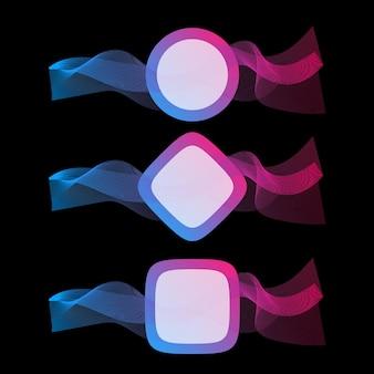 텍스트에 대 한 장소를 가진 많은 컬러 라인의 추상 파. 어두운 배경에 고립 된 물결 모양의 줄무늬입니다. 벡터 일러스트 레이 션 eps10입니다. 창의적인 라인 아트. 블렌드 도구를 사용하여 만든 디자인 요소.