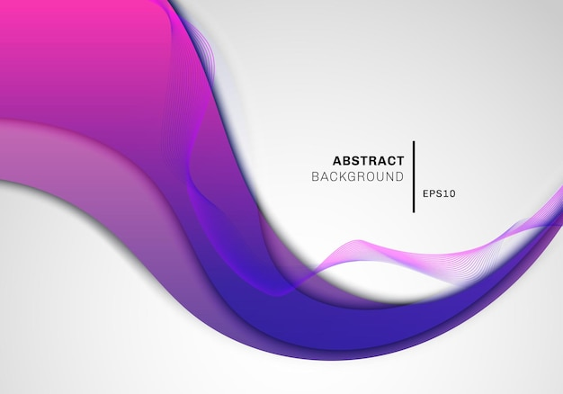 Abstract wave pink and blue gradient shape with wavy line on white background space for your text. vector illustration