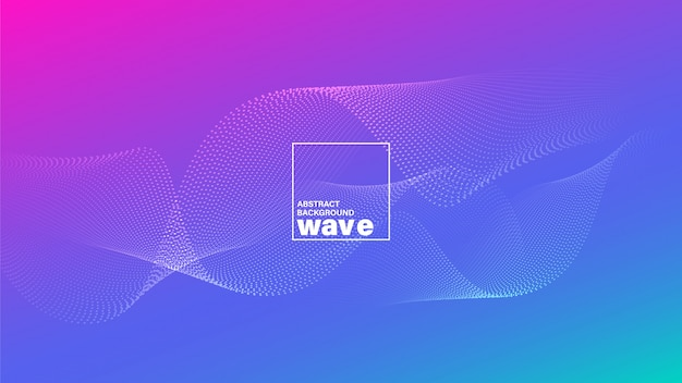 Abstract wave shape on gradient vivid bright magenta blue background.