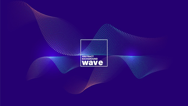 Abstract wave shape on neon blue violet background.