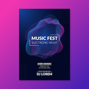 Abstract wave sound music poster template