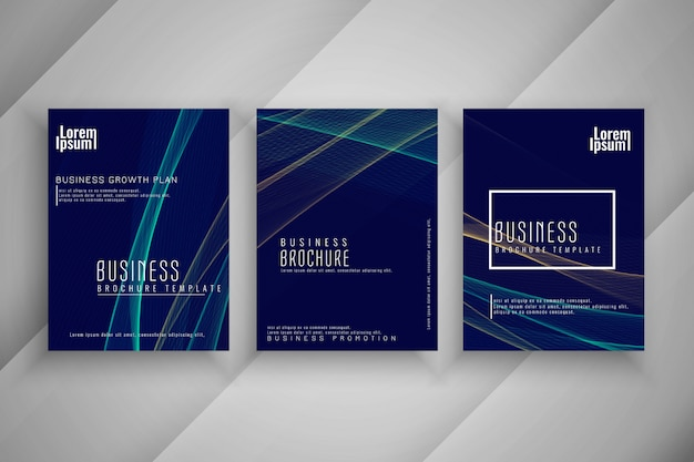 Abstract wave style business brochure template set