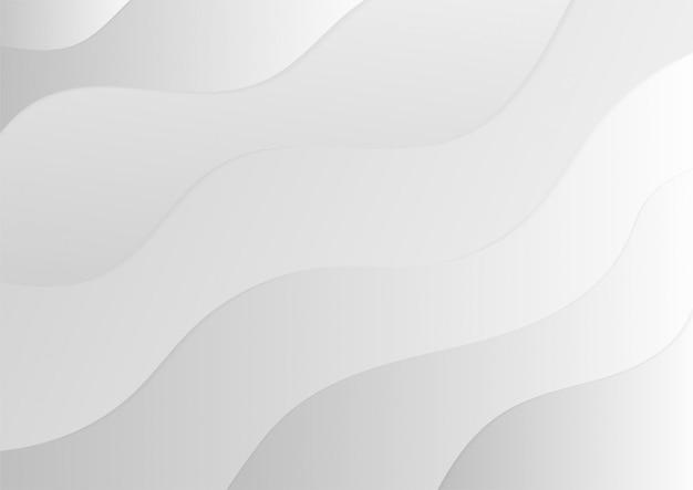 抽象的な波の白とグレーのグラデーションカラーの背景の光沢のあるライン。