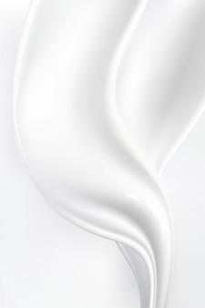 Абстрактная волна белый и серый тон фона. шелк молочный крем атлас