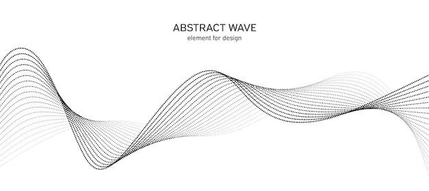 デザインのためのドット要素を持つ抽象的な波