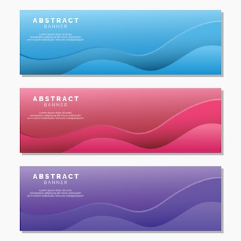 Abstract waves banner set