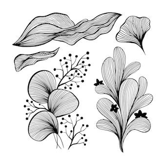 壁紙と壁のアートデザインの抽象的な波の黒と白のラインアート装飾セット。