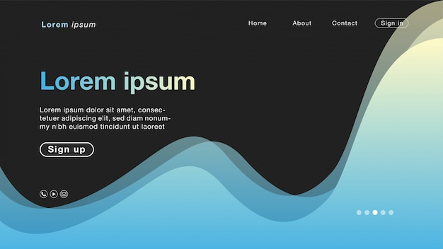 Abstract waves landing page template