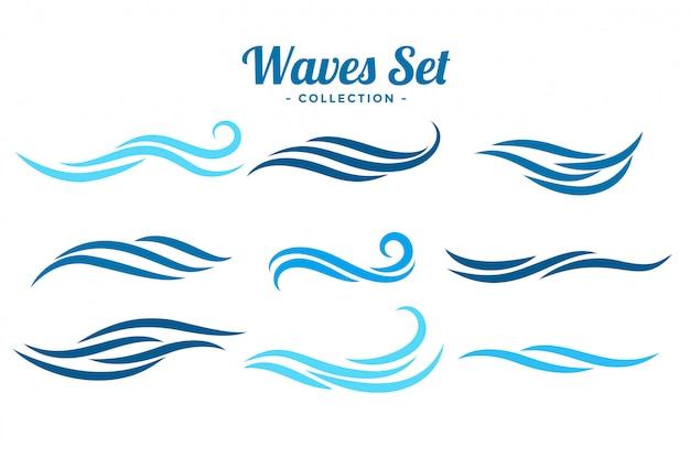 9つの抽象的な波のロゴのコンセプトセット