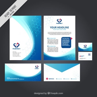 Abstract waves medical stationery